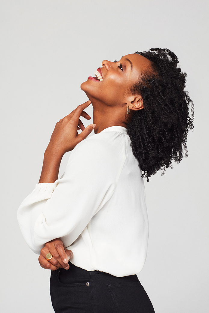 Attractive African American woman laughing