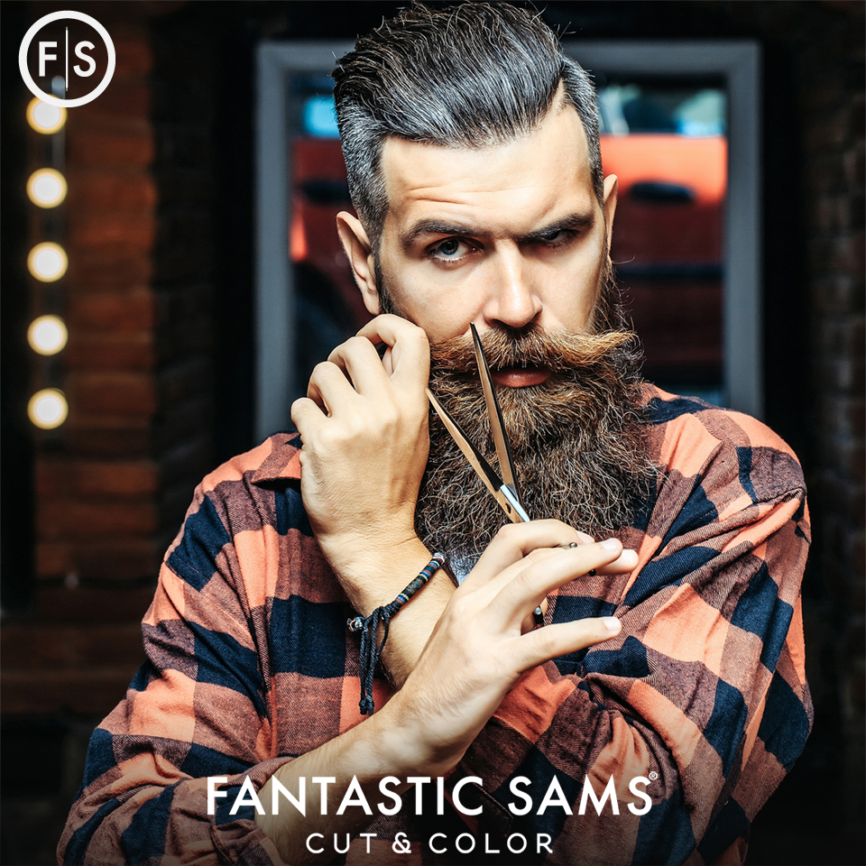 Fantastic Sams Cut and Color trims beards and styles men's hair.