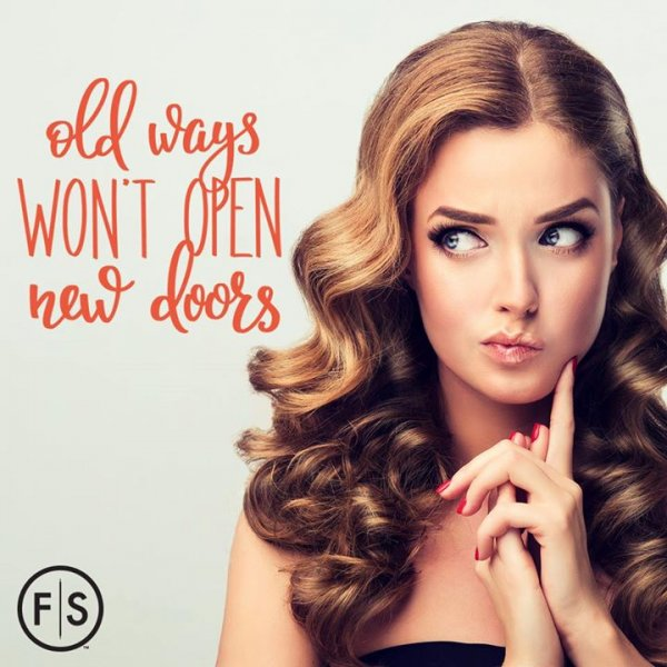 "The words ""old ways won't open new doors,"" a woman looking to the left."