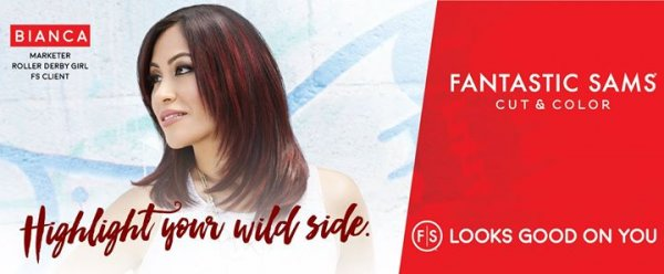 "Woman with red highlights looking to left with ""Highlight Your Wild Side"" at the bottom"