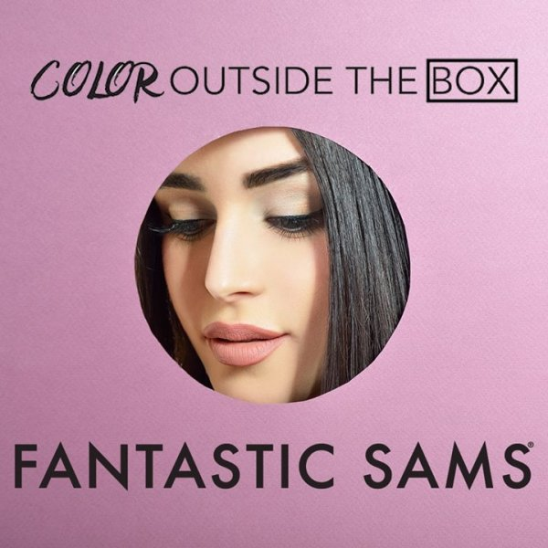 "Brunette girl in circle photo with ""Color Outside the Box"" written across top and Fantastic Sams written across bottom"
