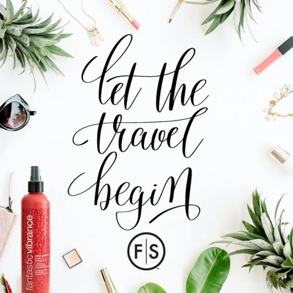 "Image with palm tree leaves and vacation items like sunglasses and travel size hair products with the text ""let the travel begin"" in the center"