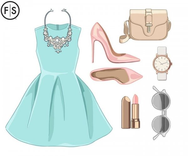 Layout of a outfit including a blue dress, pink bag, shoes and jewelry