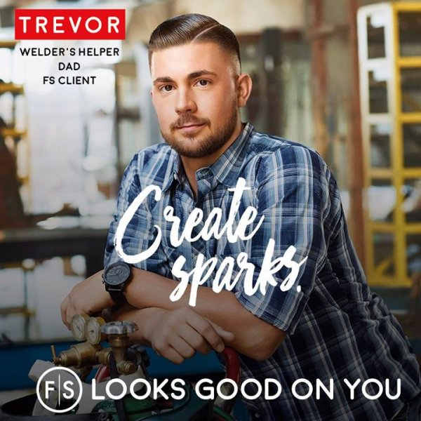 "The words ""create sparks,"" man with short hair looking at camera."