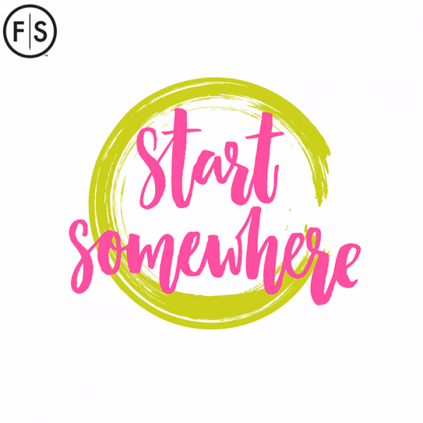 """Yellow circle with """"Start Somewhere"""" written in pink infront"""