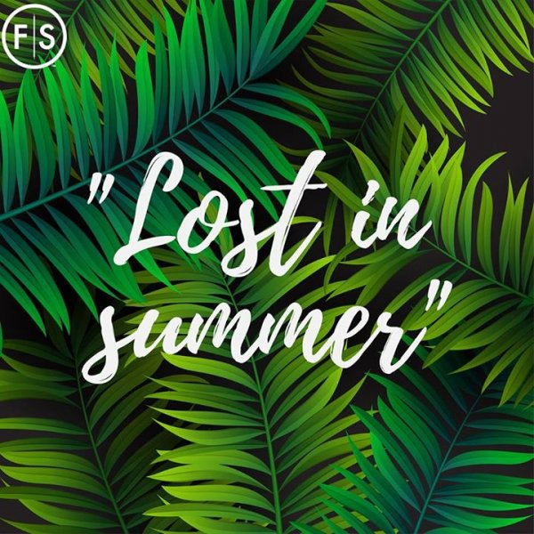 "Palm tree background with the quote ""Lost in Summer"" centered and written in white script"