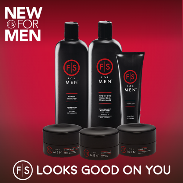 "New men's products are displayed with the text ""New for Men"" at the top. The new men's line ranges from shampoo to shaping wax"