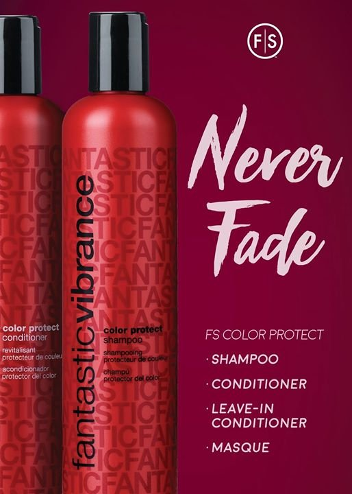 "Two bottles of color protect product with ""Never Fade"" written at top and ""FS Color Protect Shampoo, Conditioner, Leave-In Conditioner Masque"" written to right of bottles"