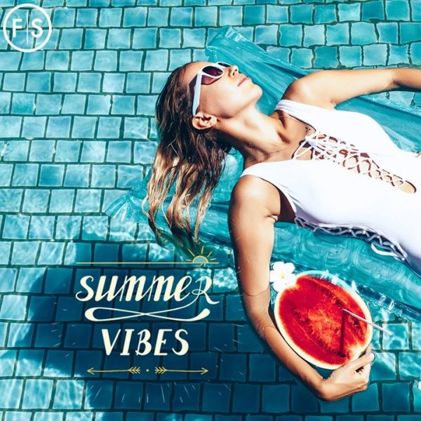 "Girl in a white bathing suit and white sunglasses floating in a pool with a watermelon drink with the copy ""Summer Vibes"" in the bottom left hand corner"