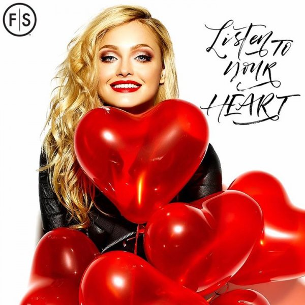 Girl with curly blonde hair surrounded by red balloons, words listen to your heart