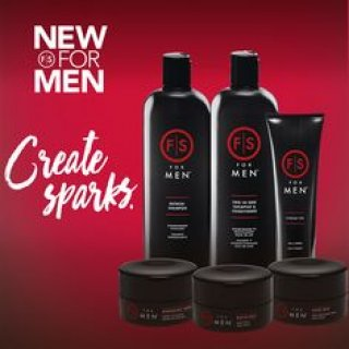 "Text ""New for Men"" and ""Create Sparks"" on the left hand side with new Fantastic Sams mens products on the right hand side. Products range from shampoo to hair wax"