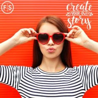 """Girl wearing heart shaped glasses blowing a kiss with the text """"Create Your Own Story"""""""