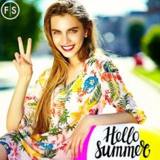 "Girl sitting outside making peace sign with ""Hello Summer"" written in the lower right hand corner"