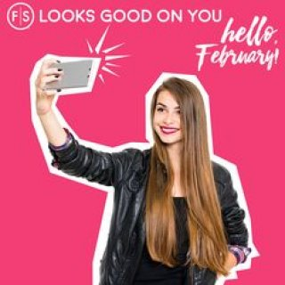 The words Hello February, woman with long, straight hair taking a selfie