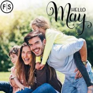 "Smiling family playing outside with ""Hello May"" written in the top right corner"
