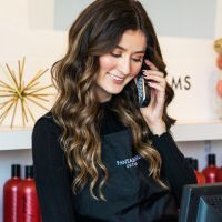 Brunette answering the phone